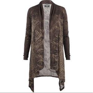 AllSaints Reflection Long Cardigan Sheer Layer